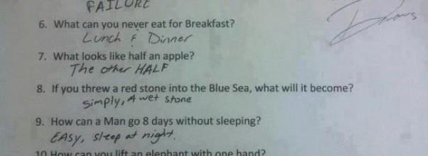 Elevene fikk beskjed om å svare så konkret som mulig. Denne eleven tok det bokstavelig. Haha.