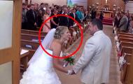 Denne pappaen gjorde noe virkelig overraskende da han fulgte bruden ned kirkegulvet.