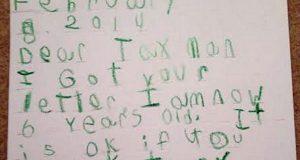 Skattevesenet i USA sendte en FEM ÅR GAMMEL GUTT et brev om hans skatt. Responsen hans er klassisk. LOL.