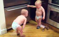 Tvillingene kom inn på kjøkkenet og hun tok frem telefonen. Det hun fikk på kamera må du bare se.