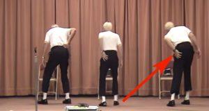 Tre gamlinger går opp på scenen. Men bare vent… Når de begynner å danse, tar lokalet helt av.
