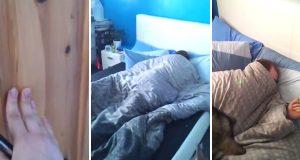 Hver morgen går hun inn på rommet hans med en laserpeker. Nytter ikke sove seg gjennom denne alarmen.