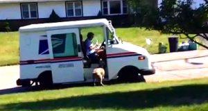 Han slår på sitt kamera, for så å filme at postdamen gjør DETTE med hunden hans.