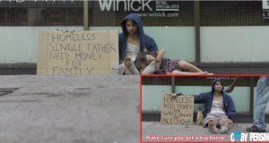 Denne hjemløse mannen ligger på gaten med sin datter. Hvordan New Yorkere behandler ham er sjokkerende.