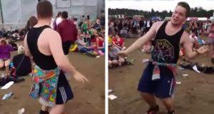 Folkemengden går bananas når denne karen begynner å danse til favorittlåten på en musikkfestival.
