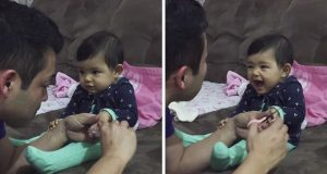 Hver gang pappa forsøker å klippe babyens negler, gjør hun noe helt herlig. Vi ler så tårene spruter.