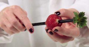 Hun stikker et sugerør gjennom jordbæret. Da jeg skjønte hvorfor ble jeg lykkelig.
