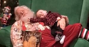 Julenissen nektet å vekke sovende baby. Det resulterte i de mest bedårende julekortbildene noensinne.