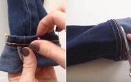 Hun fester 8 nåler i buksen og klipper av. Det ferdige resultatet? Dette skal prøves straks!