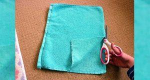 Hun klipper i stykker et gammelt badehåndkle. Resultatet? Jeg MÅ lage et sånt!