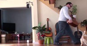 Han kaster katten ned fra stolen og sparker den bort. Det burde han aldri ha gjort.