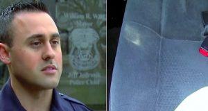 Politimann stopper en bil for sotede vinduer. Når han ser i baksetet blir han forbløffet.