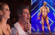 Han går ut på scenen i en merkverdig kroppsdrakt, men det han gjør får dommerne til å måpe.