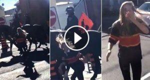Kvinne slo en politihest. Men det hesten gjorde før hun kunne stikke av? Se dette.
