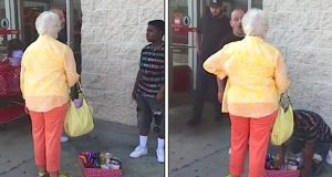 Eldre dame skjeller ut gutt som selger godteri utenfor butikk, til en fremmed setter henne på plass.