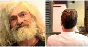 Hjemløs mann gråter etter frisørbesøk som gir ham en makeover som forandrer hans liv.