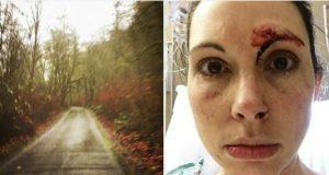 Mann overfaller joggende kvinne i skogen. Innser tabben idet hun snur seg rundt.