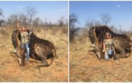 Amerikansk troféjeger har akkurat skutt og drept en sjelden svart sjiraff – poserer jublende.