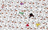 Ingen i familien kunne løse denne: Klarer du å oppdage pandaen blant snømenn?