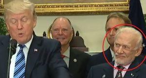 Apollo 11-astronaut Buzz Aldrins ansiktsuttrykk stjal showet under Trumps tale om rommet.