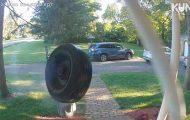 Se det rømte bildekket ringe på noens dørklokke i ca. 65 km/t.