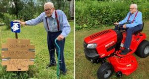Eldre mann blir frastjålet sin gressklipper – da kjøper anonyme givere ny til ham.