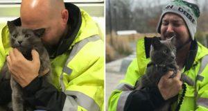 Mannen brister i tårer når han finner sin elskede katt – etter måneder med leting