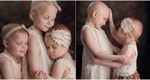 3 jenter som kjemper mot kreft poserer på bilde hvert år. Men etter siste bildet renner tårene.