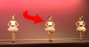 De 3 små jentene skal danse til den klassiske sangen. Men følg med på hun i midten!