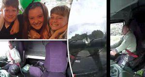 Den hjerteskjærende videoen: Lastebilsjåfør kjører på tre barn mens han ser på telefonen.